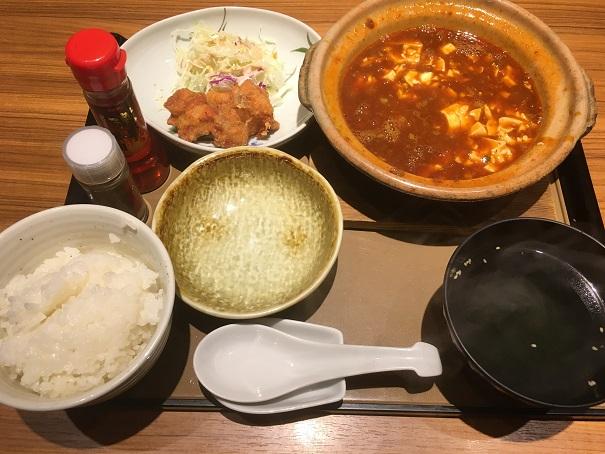 やよい軒-四川麻婆豆腐とから揚げの定食