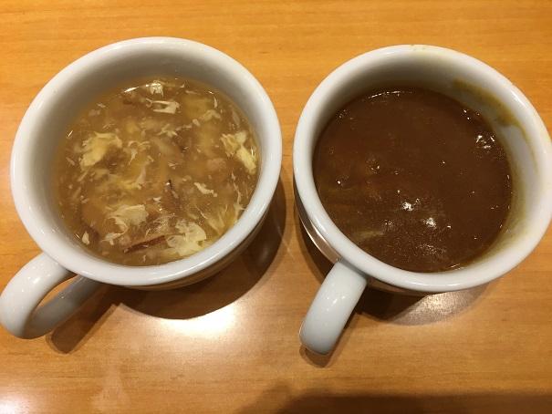 ステーキ宮-スープ(鶏肉としいたけ、ベジカレー)